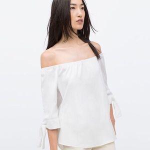Zara off the shoulder white top.